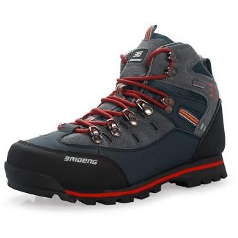 [Showlovein] トレッキングシューズ 登山靴 メンズ ウォーキングシューズ ハイキングシューズ 軽量 滑り止め/クッション性/防水/吸汗/通気性 (26.5cm, レッド)