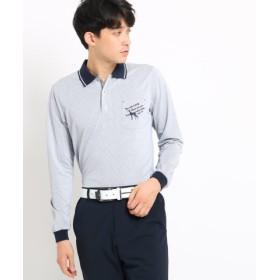 (adabat/アダバット)【吸水速乾】胸ポケット付きストライプ長袖ポロシャツ/メンズ ネイビー(193)