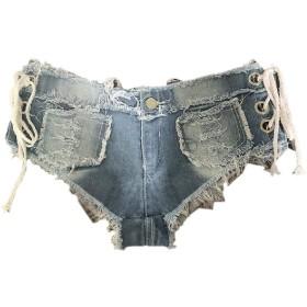 maweisong 女性セクシー低ライズミニデニムショーツデニムトングチーキージーンズショーツ 1 XL