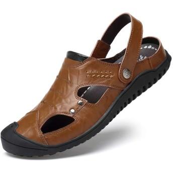 [フルタイムの靴と服] ユニセックス大人のサンダルハイストリートドレスドレスシューズアウトドアファッションビーチサンダルラバー中国風サンダル 26.5cm 褐色