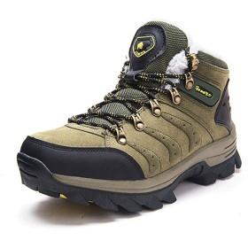 男性用女性ハイキングシューズ、ベルベットウォーキングシューズウォームウォータープルーフスニーカーノンスリップアウトドアハイキングシューズ冬用ブーツ,ArmyGreen,41EU