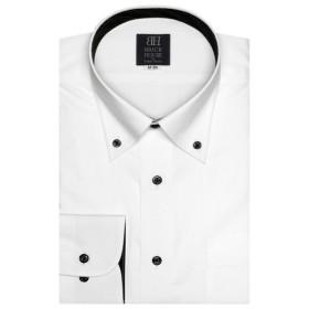 [マルイ] 形態安定 ノーアイロン 長袖ワイシャツ ボタンダウン 白×ストライプ織柄 標準体/ブリックハウス(BRICKHOUSE)