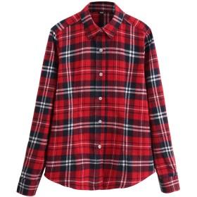 (オチェーンタ)OCHENTA 長袖 チェック 柄 シャツ ネルシャツ レディース 裏地 トップス Yシャツ B06 XL