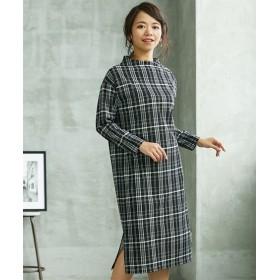 小さいサイズ 裾スリット肩ボタンワンピース 【小さいサイズ・小柄・プチ】ロング・マキシワンピース