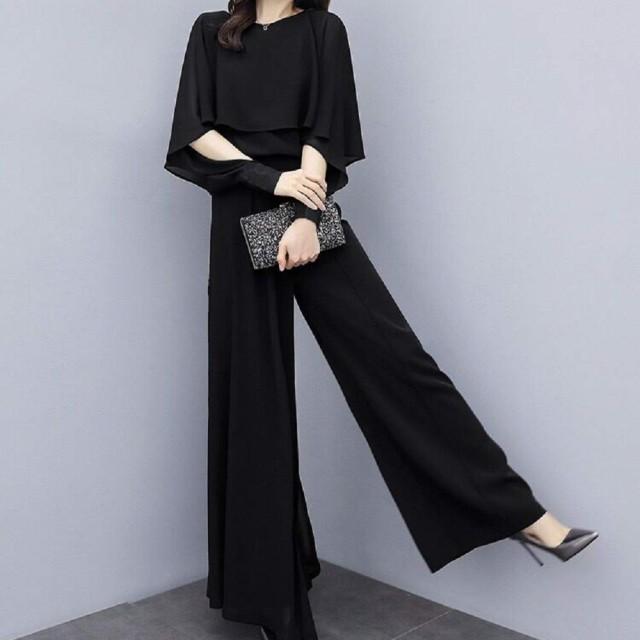 レディース パンツ ドレス ハイウエストシフォン ワイドレッグパンツ スーツ 新しい 韓国風 余暇ファッション ツーピーススーツ 結婚式 春夏