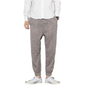 GodeyesW Men's Baggy Harem Pure Colour Mid Waist Drawstring Linen Long Pants 3 S