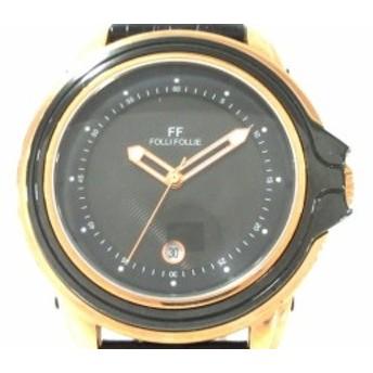 フォリフォリ FolliFollie 腕時計 WF8R056 レディース 黒【中古】