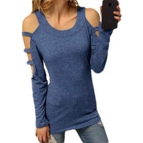 Keaac Women Slim Fit All-match Camo Camouflage Print Long Sleeve T-shirt Top Blue M