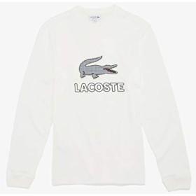 ラコステ(LACOSTE) ハウンドトゥース柄ロゴワッペン付きロングスリーブTシャツ【オフホワイト/4(日本サイズL)】