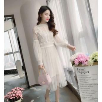 ワンピース 二次会 謝恩会 韓国 結婚式 ワンピースドレス シフォンワンピー 同窓会 パーティードレス お呼ばれドレス