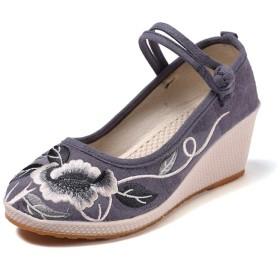 ウェッジソール グレー/灰色 パンプス 痛くない 厚底 春 ウェッジ ウェッジソール幅広 シューズ ブラック ウェッジソールパンプス 7cm 23.5cm ヒール 秋パンプス 歩きやすい パーティーの靴 靴 レディース ワイズ 3E ハイヒール