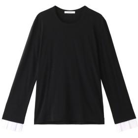 CINOH チノ プリーツカフロングスリーブ ウールTシャツ ブラック