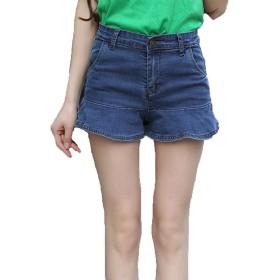 [Nana_Collection(ナナコレクション)] 夏 ショート パンツ デニム 短パン マイクロ ミニ ラップ フリル レディース ブルー 28inch