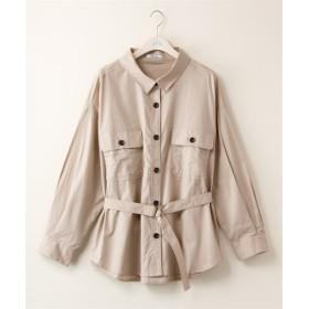 アウトポケットシャツジャケット(共布Dカンベルト付き) (大きいサイズレディース)ブラウス,plus size