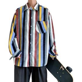 [YACORESYA(夜行列車)] メンズ シャツ 長袖 ストライプ柄 コーデュロイ シャツ レトロ 柄シャツ 柔らかい ゆったり オーバーサイズ ビッグシルエット 秋 春