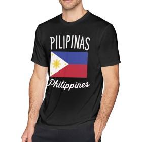 メンズ半袖クルーネックTシャツフィリピン国旗トップスL