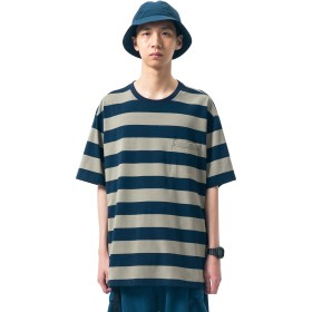 Hilarocky (ヒラロキ)Tシャツストライプ半袖メンズカジュアルトップスクルーネックシンプル和風夏服運動おしゃれコットン