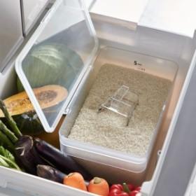 米びつ おしゃれ 5kg 計量カップ 密閉 シンク下米びつ プレート 5kg 計量カップ付き クリア 03379