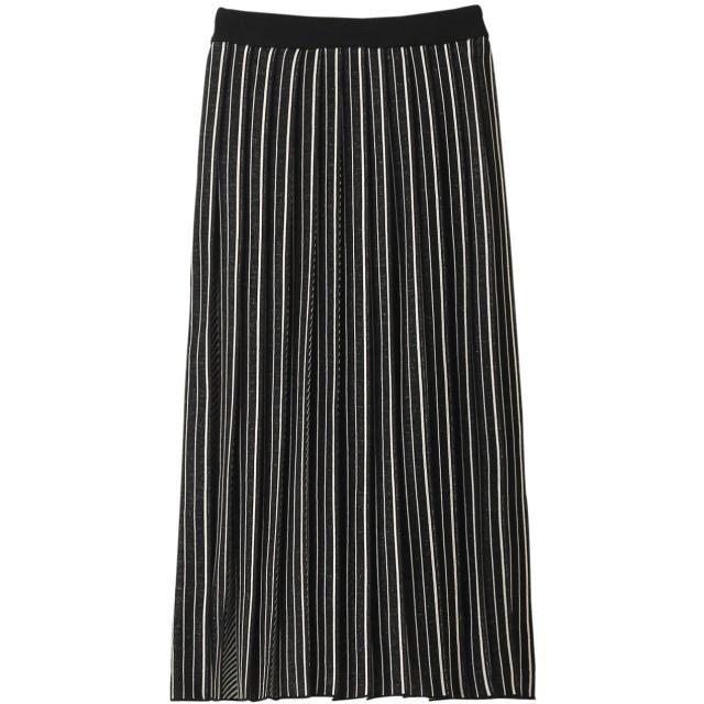 SALE 【50%OFF】 AKIRANAKA アキラナカ ストライププリーツニットスカート ブラック×オフホワイト
