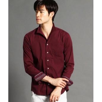 ニコルクラブフォーメン 裏ストライプ柄イタリアンカラーシャツ メンズ 07ボルドー 50(LL) 【NICOLE CLUB FOR MEN】