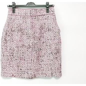 アプワイザーリッシェ Apuweiser-riche スカート サイズ1 S レディース ピンク×黒×白 ツイード【中古】