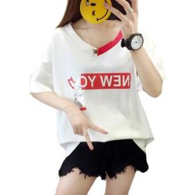 YiTong レディース 半袖 tシャツ セクシー アウター bf風 ゆったり オフショルダー Vネック かわいい カットソー 着痩せ トップス 大きいサイズ 個性 カジュアル シンプル ホワイトW