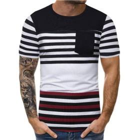 メンズ Tシャツ Meilaifushi 春夏 ポケット付 ストライプ トップス ファション カジュアル かっこいい おしゃれ 夏服 気持ち良い 吸汗速乾 無地 半袖 ストリート 気質 流行 体型カバー スポーツ 上着