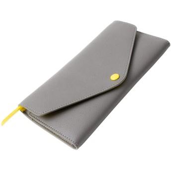 MALTA 長財布 レディース 大容量 財布 ツートン レザー 牛革 フラップ ボタン留め 小銭入れ ファスナー カード入れ 薄型 二つ折り財布 2つ折り 薄い メンズ ロングウォレット グレーイエロー