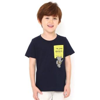 (グラニフ) graniph コラボレーション キッズ Tシャツ ぞうのババール エンブロイダリー (ぞうのババール) (ネイビー) キッズ 110 (g28) #おそろいコーデ