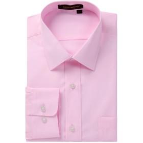 長袖ワイシャツ メンズ 速乾 形態安定 レギュラーカラー ピンク 無地 ワイシャツ ノーアイロン ストレッチ LLサイズ 冠婚葬祭 by Enlision