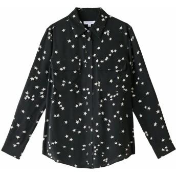 EQUIPMENT エキップモン SLIM SIGNATURE スタープリントシルクシャツ ブラック