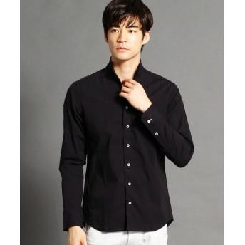ニコルクラブフォーメン 裏ストライプ柄イタリアンカラーシャツ メンズ 49ブラック 48(L) 【NICOLE CLUB FOR MEN】