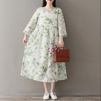 レディースワンピース 森ガール クラシック風 ゆったり 刺繍 九分袖ロングワンピース 可愛い 花柄 春 新作