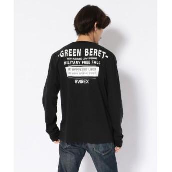 (AVIREX/アヴィレックス)クルーネックTシャツ グリーンベレー ハロ/T-SHIRT GREEN BERET HALO/メンズ BLACK 送料無料