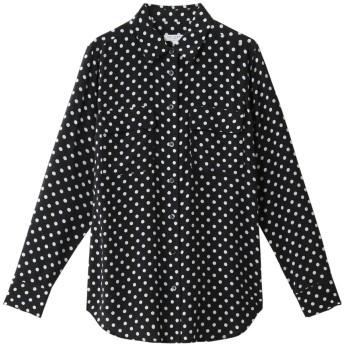 EQUIPMENT エキップモン SLIM SIGNATURE ドットプリントシルクシャツ ダークブルー