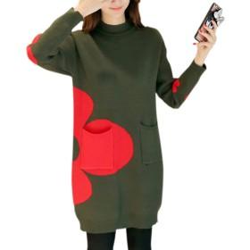 formanism ボトルネック フラワー 花柄 バイカラー ニット セーター ワンピース レディース 全3色 S M L (グリーン L)