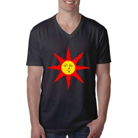 ダークソウル ソラール イラスト Tシャツ メンズ 半袖 綿 Tシャツ Vネック 吸汗速乾 カットソー シンプル ゆったり 無地 オシャレ