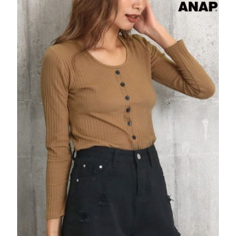 【セール開催中】ANAP(アナップ)ボタン付きリブトップス