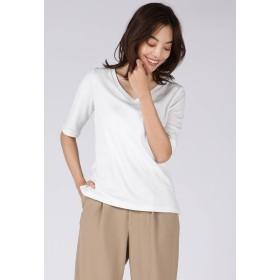 VICKY 7分袖リブトップス Tシャツ・カットソー,オフホワイト