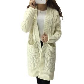 [ルリジューズ] 大きめ 編み目 あったか リブニット ロング カーディガン コート コーディガン レディース (白, フリー)