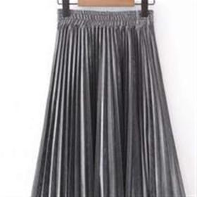 Bixiangji ウィメンズスカート、ソリッドカラースリムプリーツロングスカート プリーツスカート (Color : Silver, サイズ : M)