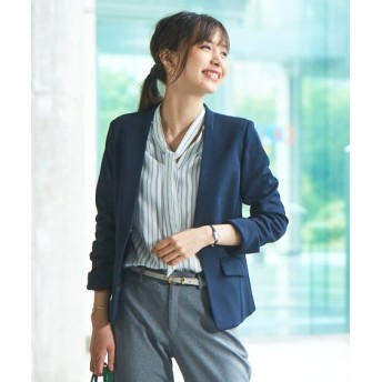 洗えるカットツイルノーカラージャケット(上下別売りスーツ) (大きいサイズレディース)スーツ,women's suits ,plus size