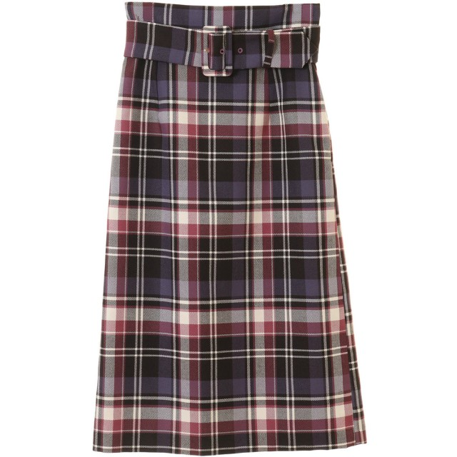31 Sons de mode トランテアン ソン ドゥ モード BIGバックルチェックタイトスカート ピンク