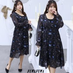 FUWAFUWA- 加大尺碼星空雪紡兩件式長袖洋裝