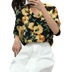 [ミリケ] レディース アロハシャツ プリント シャツ ブラウス 五分袖 ゆったり ハワイ風 レトロ 薄手 リゾート フリーサイズ ビーチ 夏 ブラックF