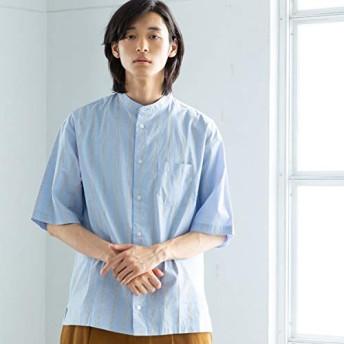 コーエン(メンズ)(coen) ストライプバンドカラーワイドフィットシャツ【LT.BLUE/L】