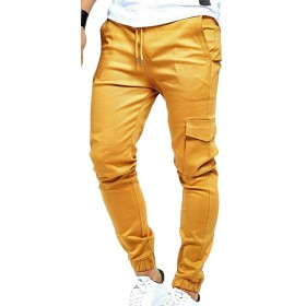 Fly Year-JP Men's Fashion Outdoor Casual Solid Running Jogger Bottom Pants Trousers Yellow XS