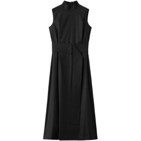 robelite & CO. ローベリイテアンドシーオー ウールレーヨンクレープロングドレス ブラック