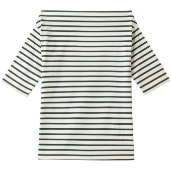 ETRE TOKYO エトレトウキョウ ボートネックボーダールーズTシャツ GREEN