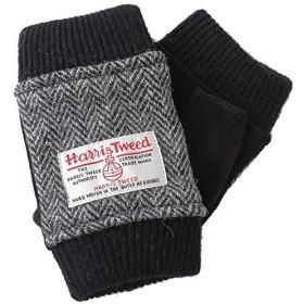 【ハリスツイード】HARRIS TWEED レディース アームウォーマー 手袋 AY-16AA0017 (ヘリンボーン x ブラック)